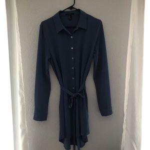 Long sleeve button up shirt dress